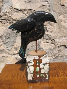 Large Hand Carved, Hand Painted Wooden Folk Art Crow on a Stump Kitchener / Waterloo Kitchener Area image 2