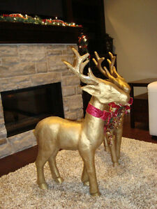"""Pair 37"""" Christmas Reindeer -Gold Paper Mache-The Pair for $70 Kitchener / Waterloo Kitchener Area image 4"""