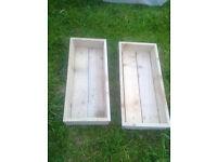 2 x plain wood trough planters