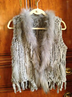 New Real Rabbit Fur Vest with Racoon collar, ladies size small