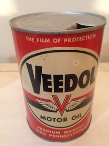 Antique Veedol motor oil tin can gas pump sign garage