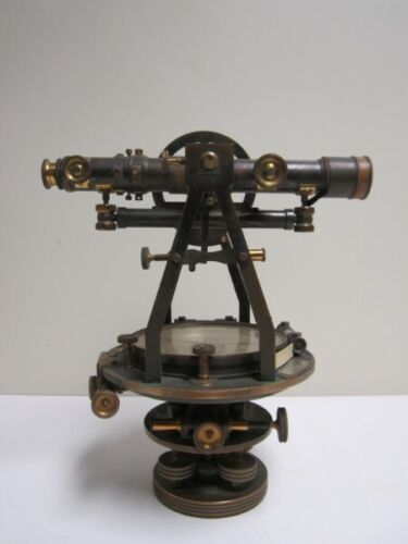 W & L.E. Gurley Troy NY Survey Sighting Compass Transit, Box and Wood Tripod