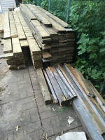 Wood from disassembled deck