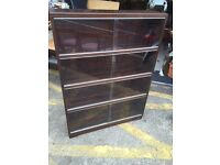 Pair of Vintage Minty Solid Oak 3 Tier Sectional Bookcase with Sliding Glazed doors