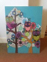 Flower art, Owl art