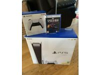 Playstation 5 disc console with extra controller and game