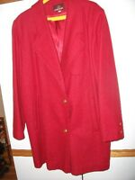 red jacket 3/4 length -Jordache, size 12 clean, light wool coat