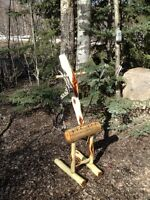 Archery,  double bow and arrow stand