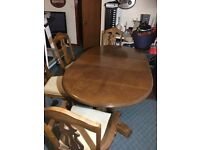 Hard wood table and 6no chairs with matching display unit