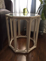 A pair of white hexagonal modern vintage side tables