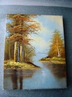 2 vtg local artist Hand-painted Canvas Oil Painting