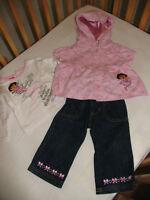 Jean, veste à capuche rose neuf et haut DORA - 12 mois