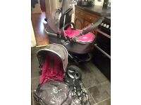 ICANDY PEACH 3 FULL PRAM PUSHCHAIR INCL PEBBLE CARSEAT IN BERRY BON BON COST £1200