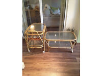 Bamboo coffee table and tea/cake trolley