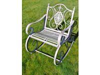 Metal/Steel Garden Rocking Chair In Antique Aged Grey Indoor & Outdoors Porch