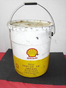 SHELL  METAL GREASE CAN WITH LID