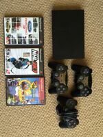 PS2 with 3 Controllers, 3 Games & DDR