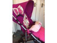 Mamas & papas Luna girls pink pushchair pram stroller buggy