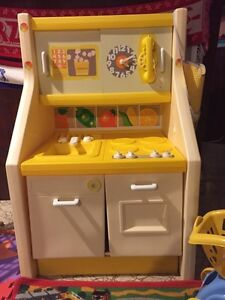 Kids play kitchen with high chair, grocery cart and play food. Sarnia Sarnia Area image 1