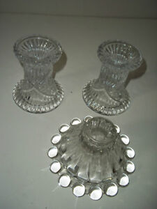 (3) Candle Holders- (2) are Pinwheel Chrystal & the Glass