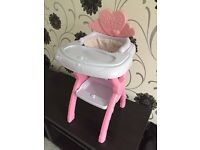 Baby doll plastic high chair