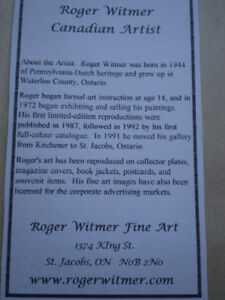 2-Roger Witmer Limited Edition Prints Kitchener / Waterloo Kitchener Area image 3