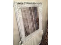Large pale grey/white ornate mirror
