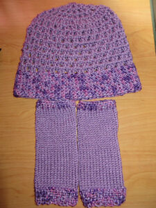 Crochet Hat and Knitted Wristers