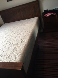 King Size Oak bed frame and premium memory foam mattress