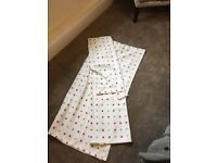 Cream red and grey polka dot curtains