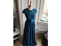 4 Dusty blue bridesmaids dresses, lace neckline, sizes 8, 10, 12 & 14
