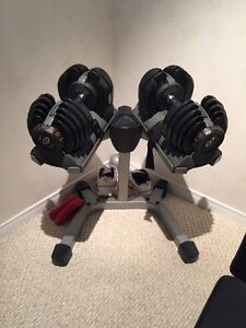 Nautilus selectech adjustable dumbbell set with stand