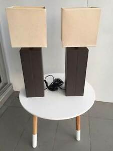 Table twin lamps-real leather base Woolloomooloo Inner Sydney Preview