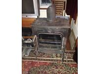 Large woodburner with back boiler and new flue