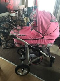 Pink floral pram £80 ONO