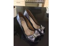 Miss KG silvery-blue sparkly heels