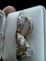 Engagement rings (3) and mens weddings band