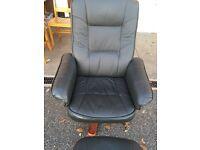 Nice dark green leather reclining swivel chair