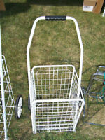 1 large foldable grocery cart and 1 smaller foldable grocerycart