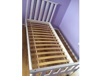 Wooden single bed frame white SOLD