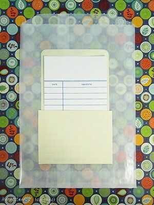 100 Self Stick Library Book Pockets, AND 100 Blank Date Due Cards, Choose Style
