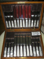 ANTIQUE HARRISON BROS. and HOWSON 24-Pc. FISH SET in ORG. FITTED