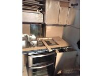 Kitchen base and wall units, sink, oven, extractor and built in dishwasher