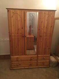 Pine - Triple Wardrobe & Dressing Table with Mirror
