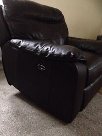 Brown leather 3 seater settee and electric reclining chair