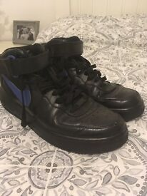 Airforce One black leather trainers boots