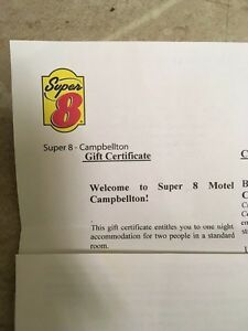 Gift certificate for 1 night stay in Super 8 Campbellton, NB