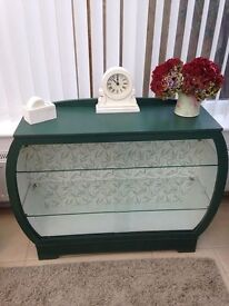 ART DECO SHABBY CHIC GLASS FRONTED CABINET