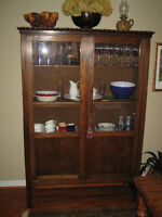Antique French Armoire with glass doors and multiple shelves