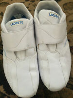 Selling a used pair of White Lacoste Shoes size 10